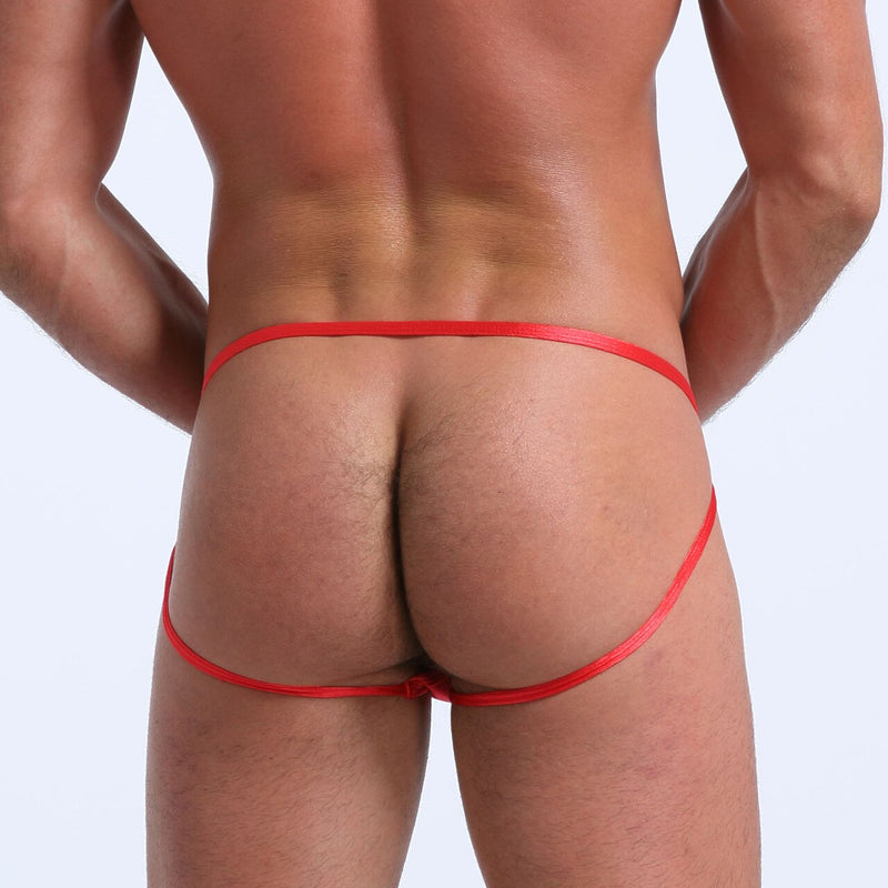 Mens Soft and Silky Comfortable Poly Jock Strap Red