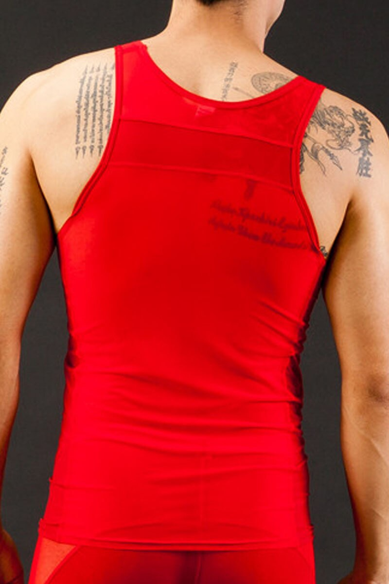 Mens Stretch Mesh Tank Top Red