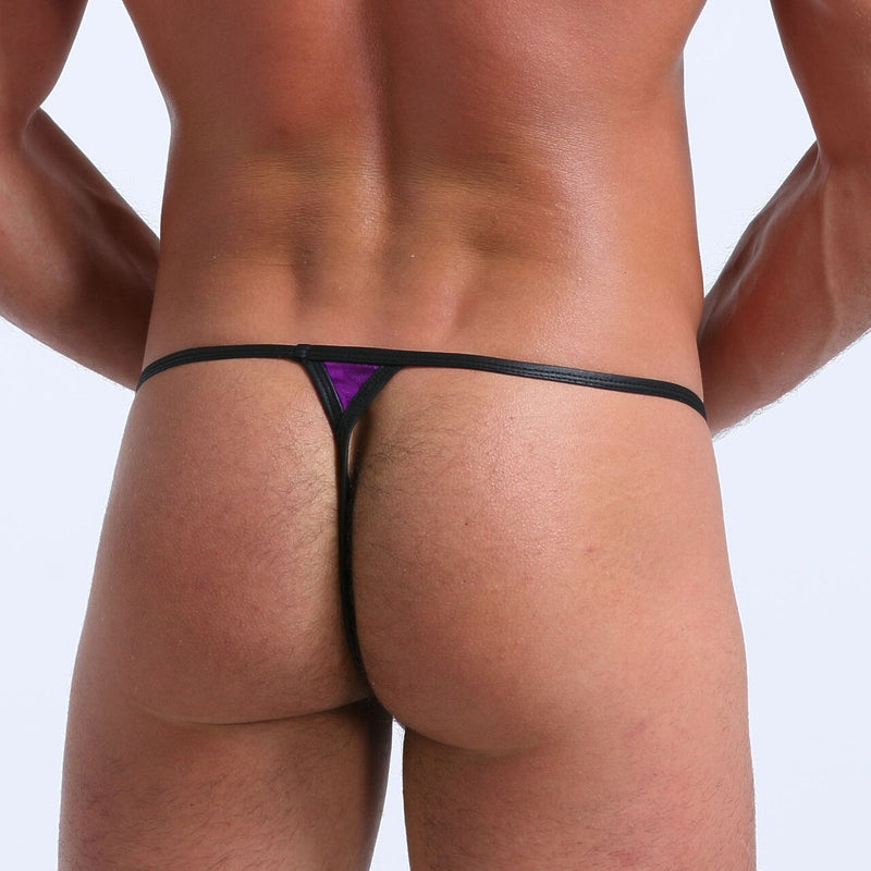 Mens Stretch Shiny Metallic Pouch G string Purple