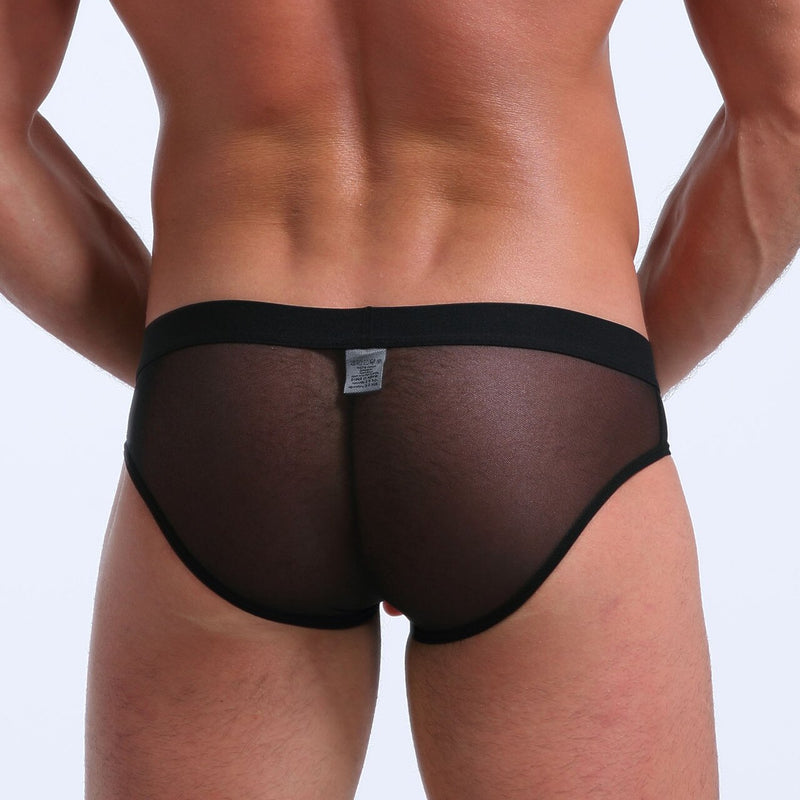 Mens Stretch Mesh Sheer Briefs with Pouch Front Black