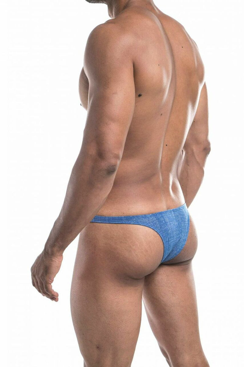Mens Denim Look Spandex Capri Bikini Brief Blue