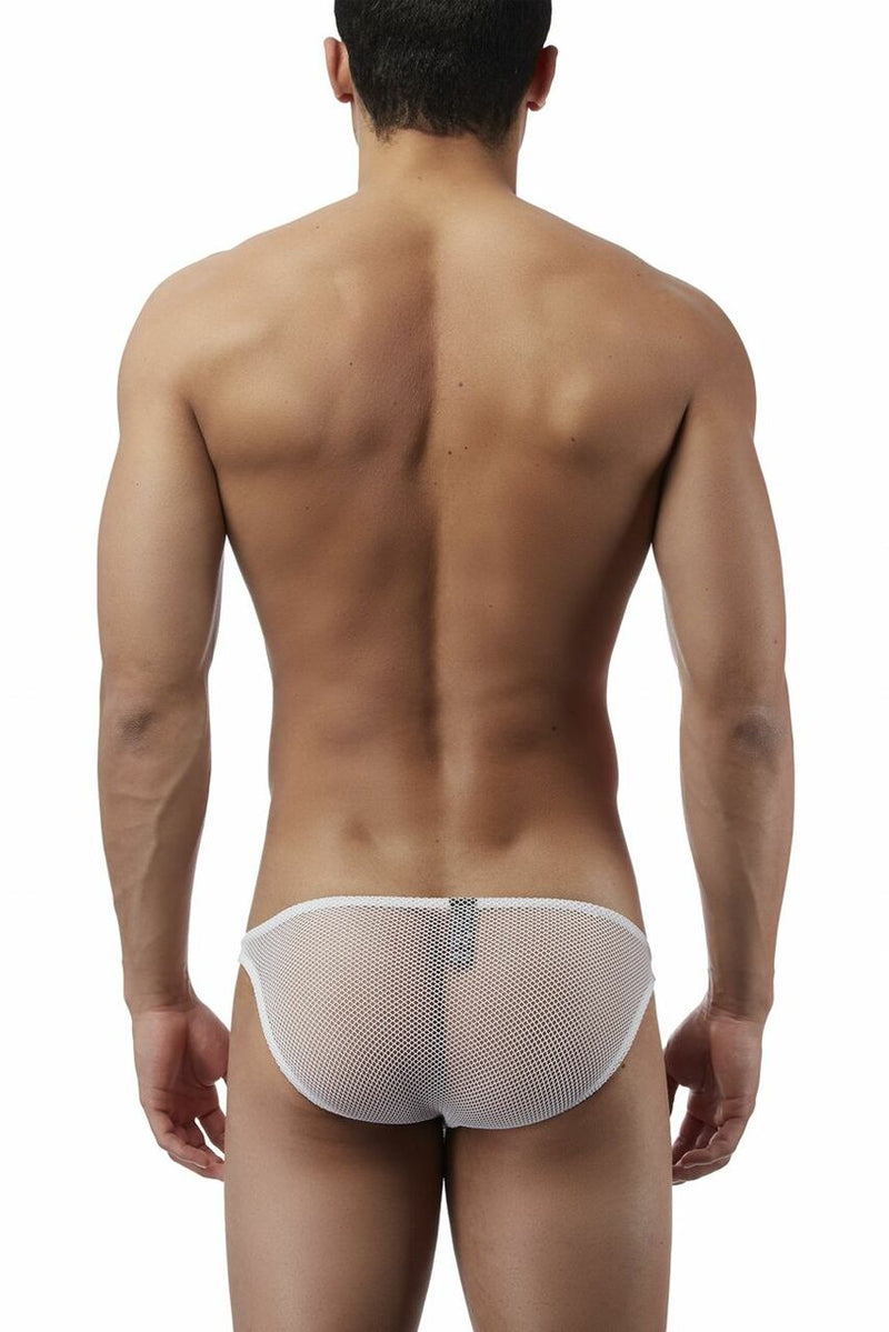 Mens Male Power Stretch Wide Net Brief White