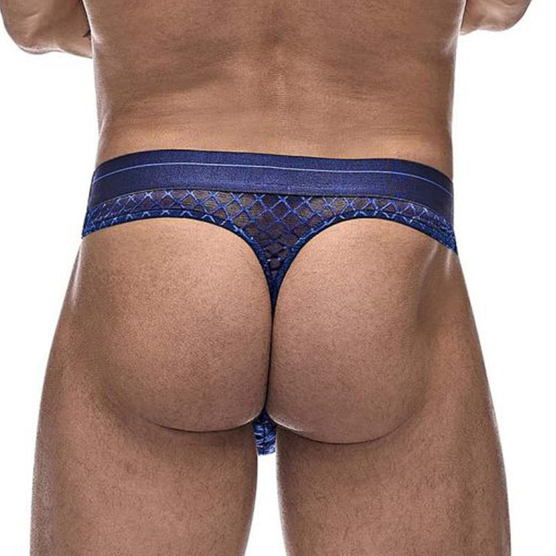 Mens Male Power Sheer Diamond Mesh Thong Navy