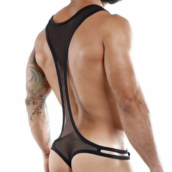 Mens Stretch Mesh Bodysuit with Open Sides Black