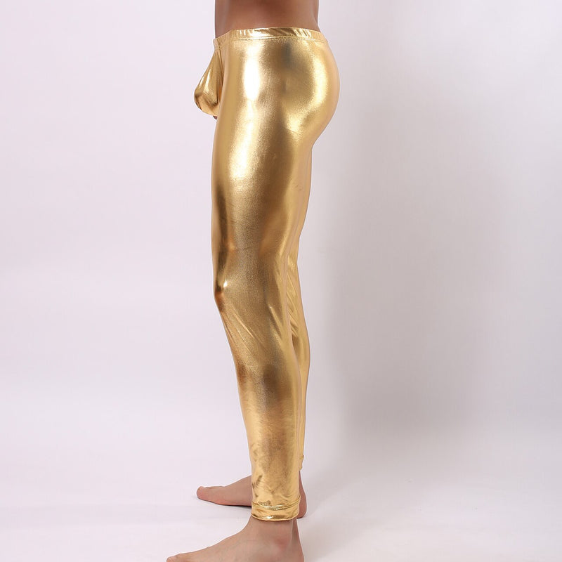 Mens Stretch Shiny Metallic Long Tights Gold