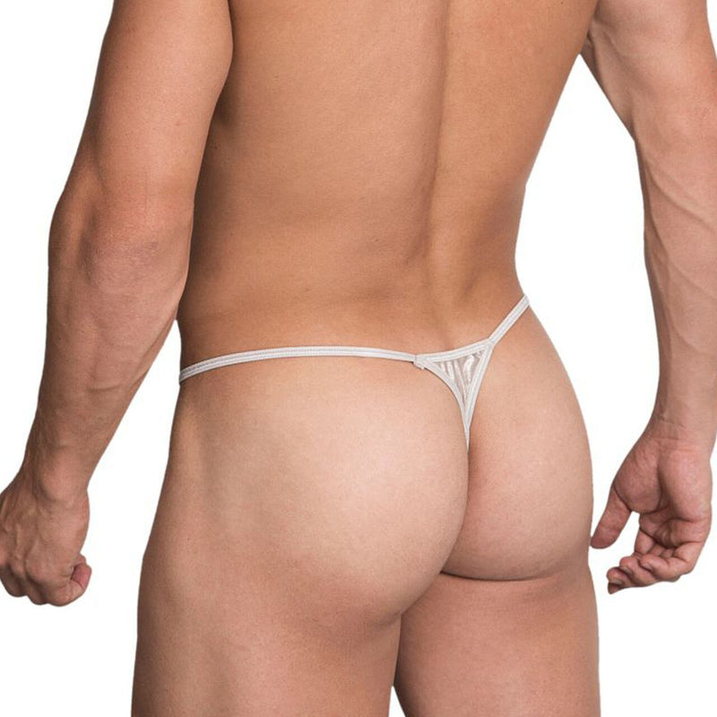 Mens PPU Underwear Tear Drop Thong Silver