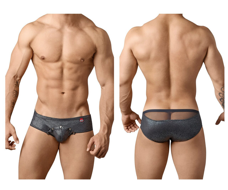 Mens Pikante Jordy Briefs with Snap Opening Front Black