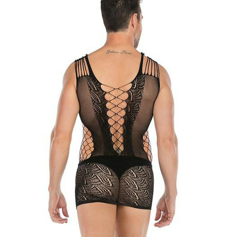 Male and Female Unisex Stretch Micro Mini Dress with Front Lacing Black