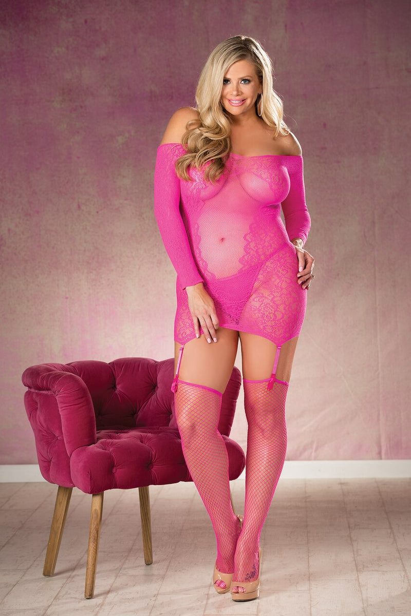 Lace Mini Dress Set with Long Sleeves Hot Pink