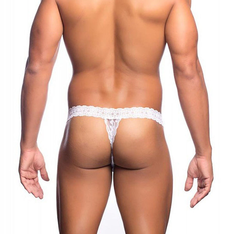 Mens Stretch Lace Thong with Band White