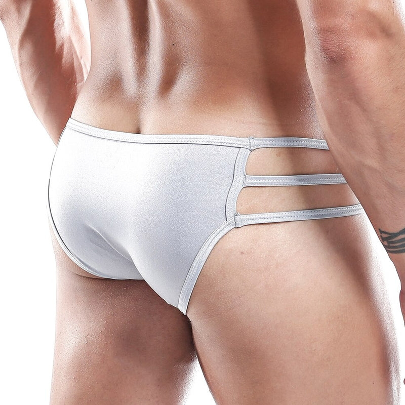 Mens Cover Male Bikini Brief with Side Straps Grey