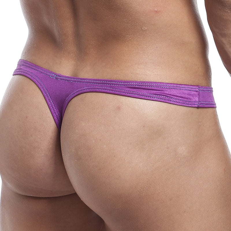 Mens Sheer See Through Show Off Mesh Front Thong Purple