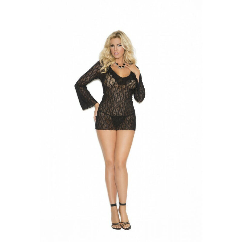 Lace Sleep Shirt Babydoll Black