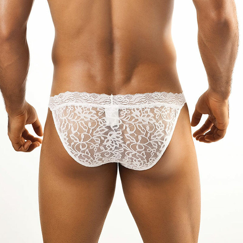 Mens Joe Snyder Lace Bikini Brief White