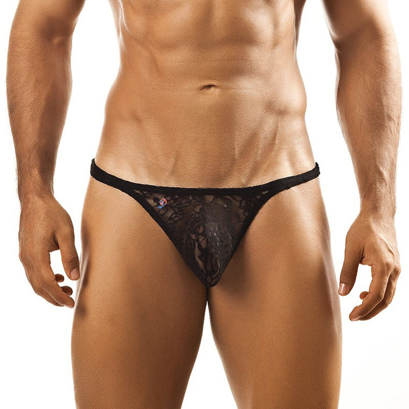 Joe Snyder Mens Lace Tanga Thong Black