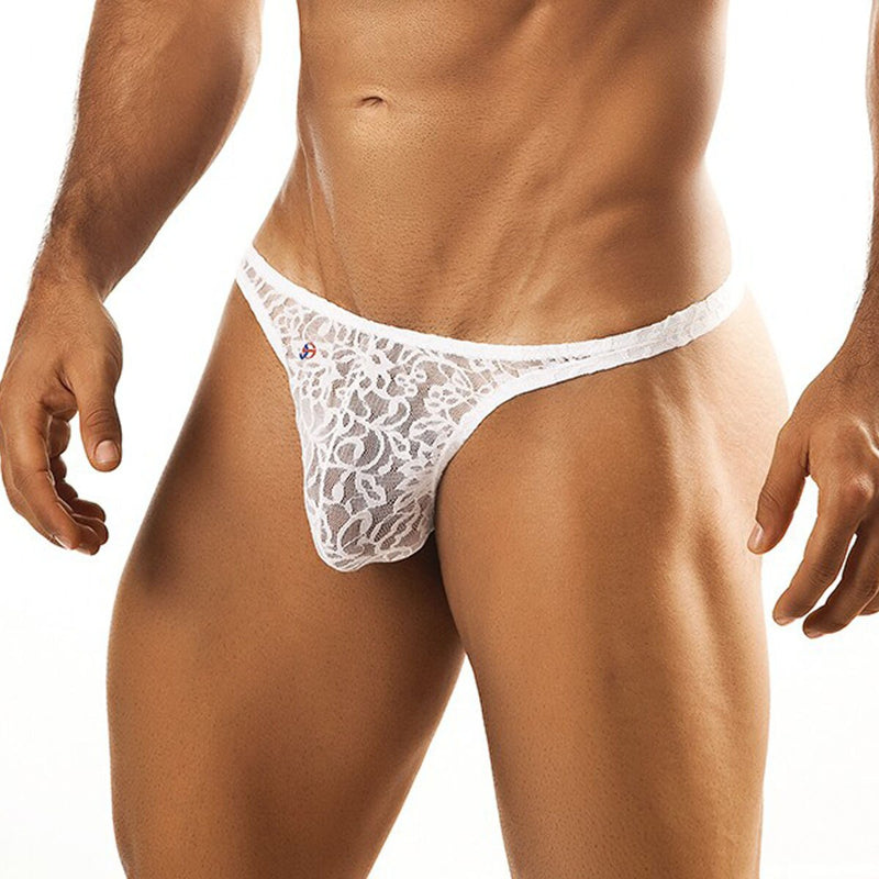 Joe Snyder Mens Lace Tanga Thong White