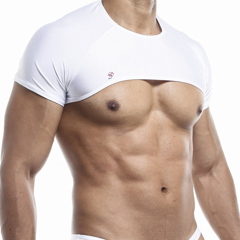Mens Joe Snyder Stretch Spandex Posing Top with Cap Sleeves White