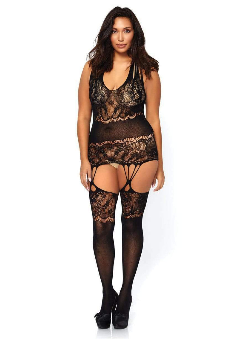 Unisex Sexy Floral Lace Bodystocking Black
