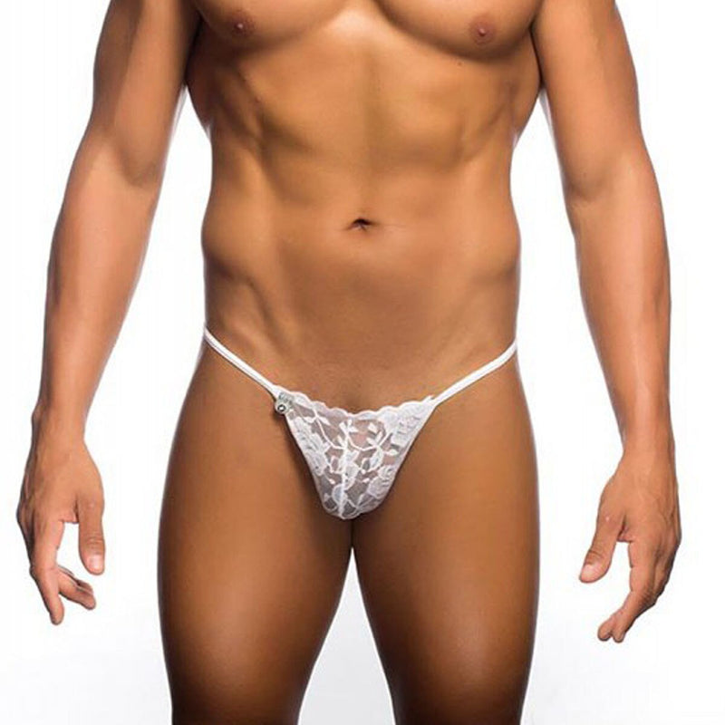 Mens Lace Pouch Thong White