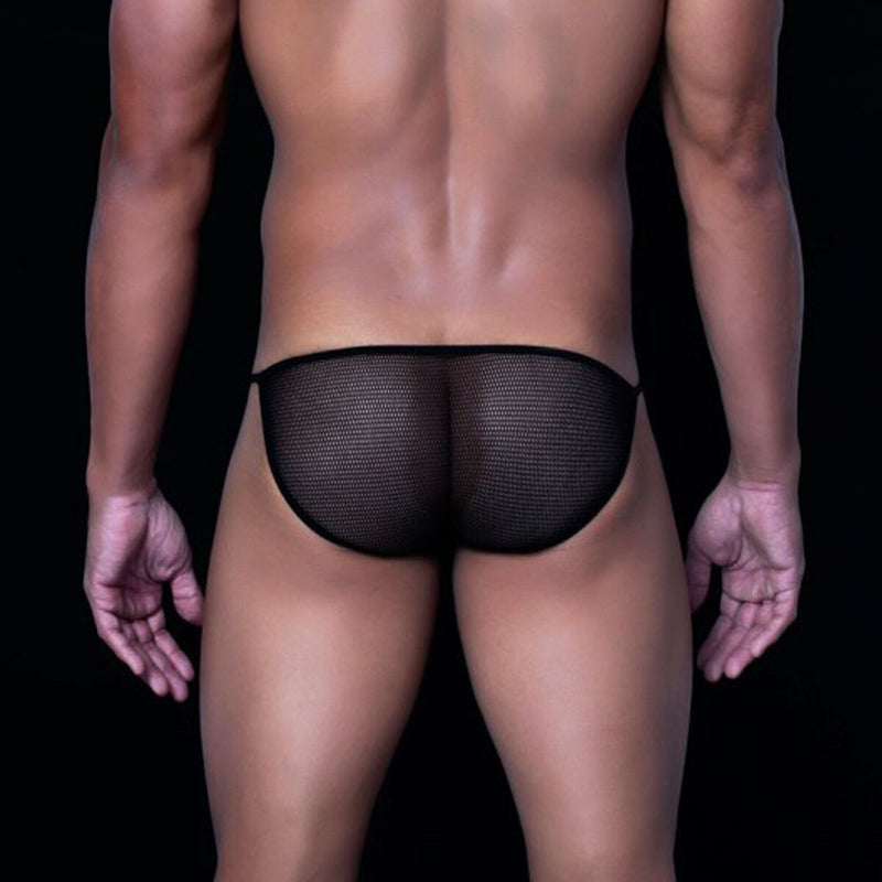 Mens Male Basics Fishnet Bikini Black