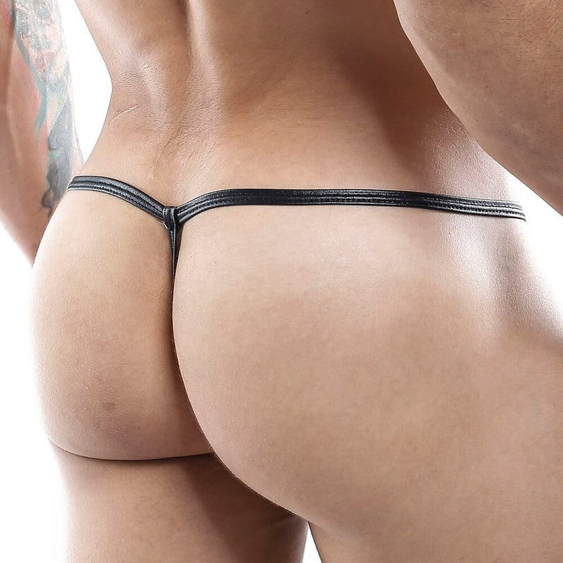 Mens Strappy Ladder Pouch G string Black