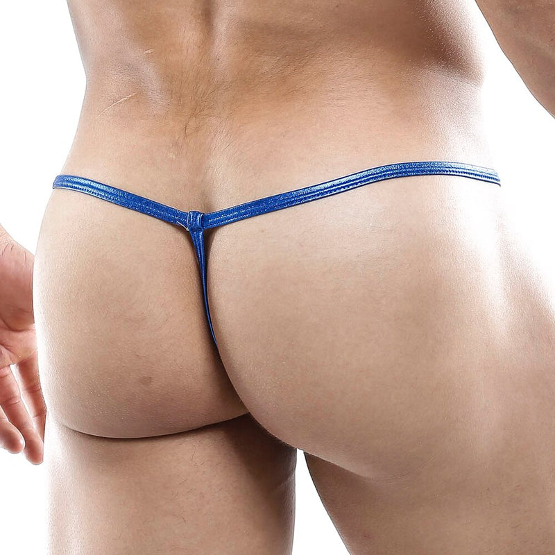 Mens Strappy Ladder Pouch G string Blue