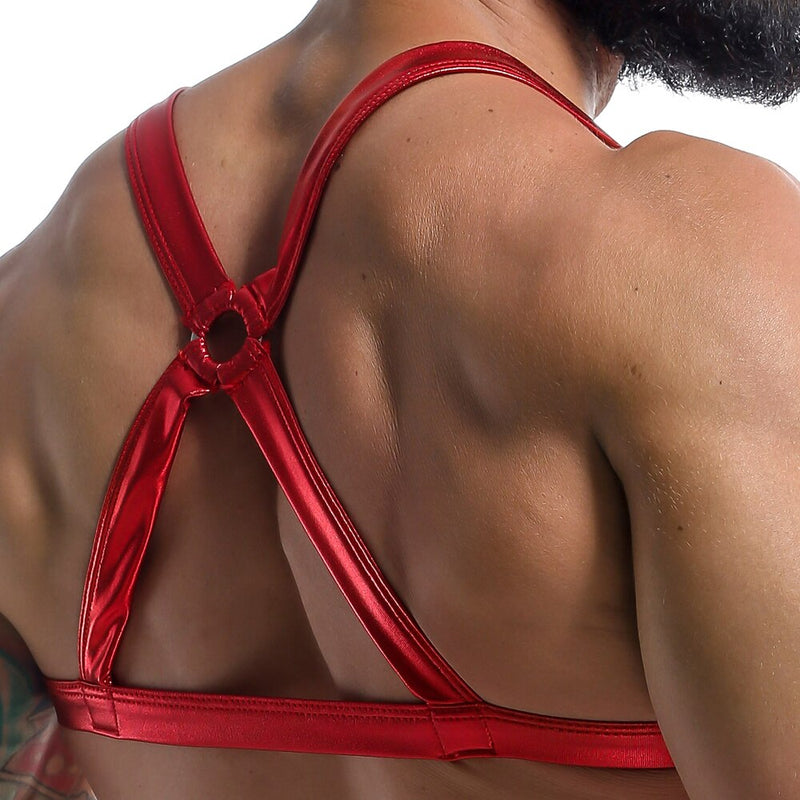 Mens Wetlook Shiny Bra Harness Red