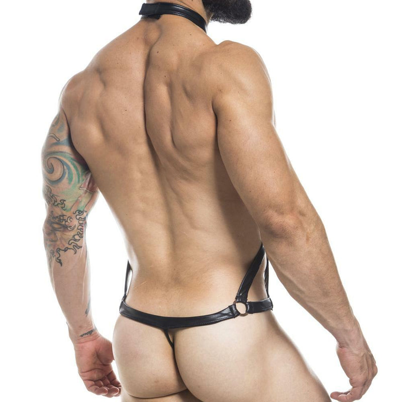Mens Miami Jock G string Back Harness Bodysuit Black