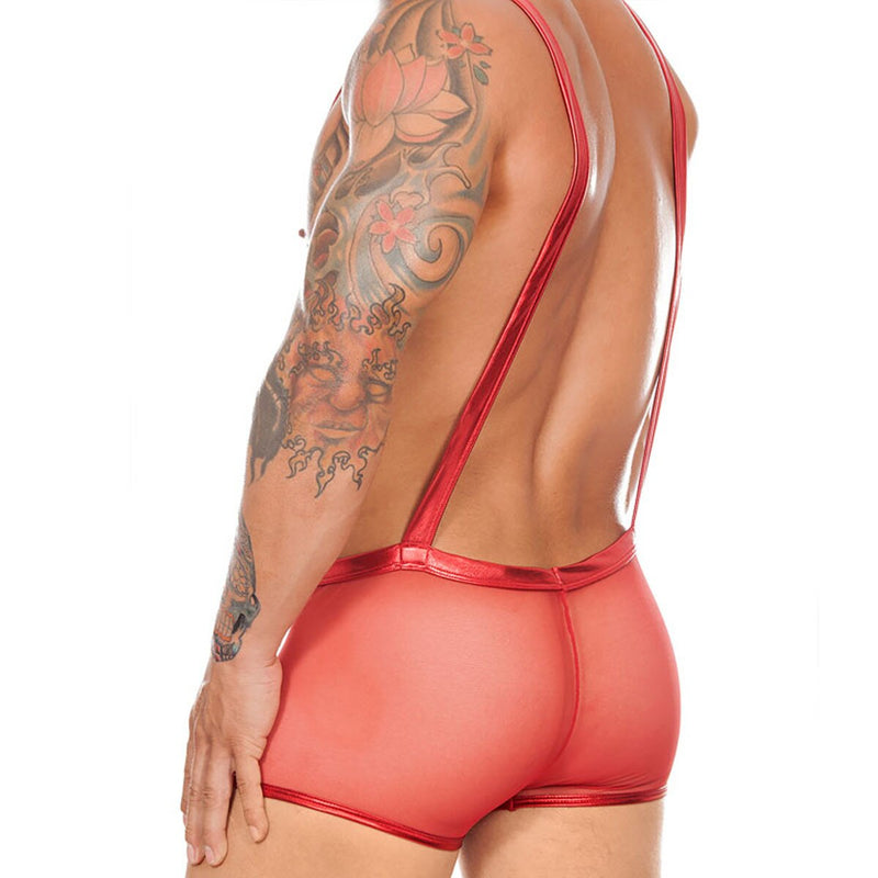 Mens Pouch Front Boxer Briefs with Braces Red