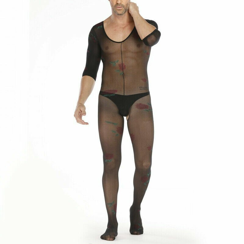 Mens Bodystocking Male Catsuit Mesh with Flowers Black