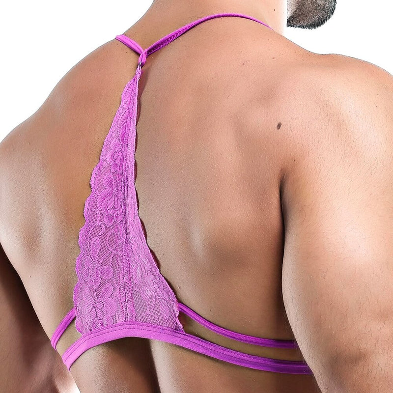 Mens Bra Top with Lace Active Back Fuchsia
