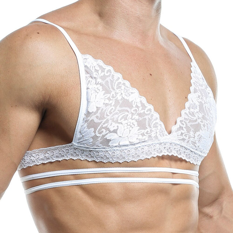 Mens Bra Top with Lace and Multi Straps White