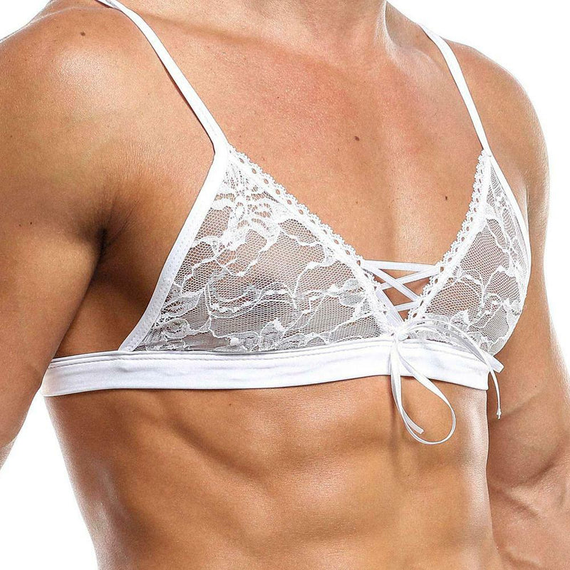 Mens Secret Male Lace Bra Top with Lace-up Front White