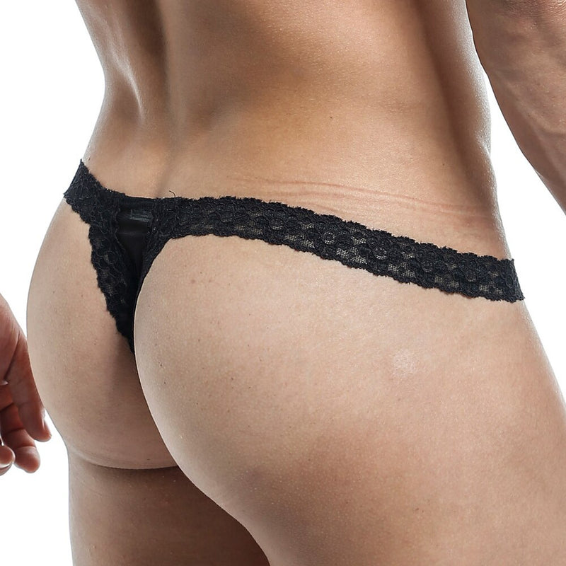 Mens G string Thong with Lace Waist, Male Lingerie Black