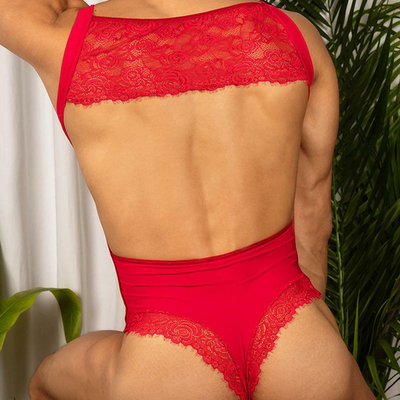Mens Secret Male Bodysuit with Lace Red