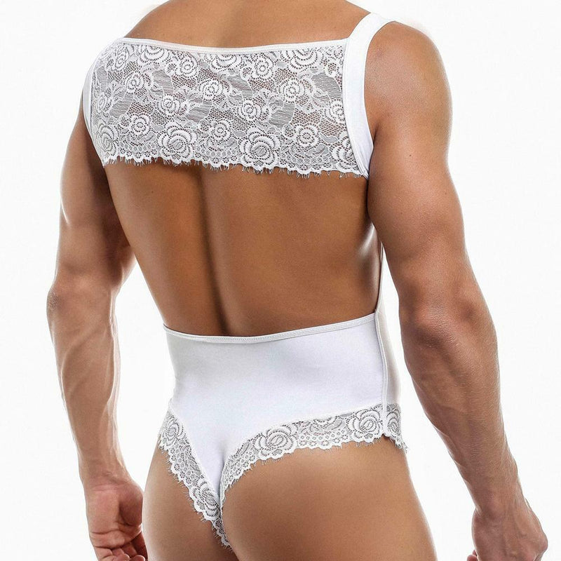 Mens Secret Male Bodysuit with Lace White
