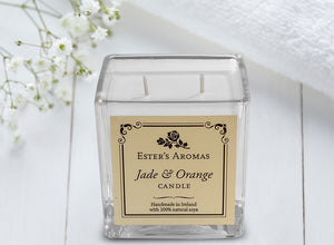 Large Square Candle : Jade & Orange
