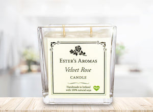 Large Square Candle : Velvet Rose