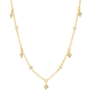 GOLD MULTI RHOMBUS CHARMS NECKLACE