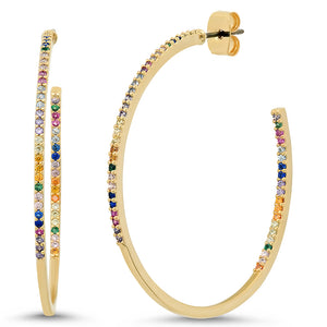 GOLD MULTI COLOR HOOP EARRINGS