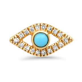 14K GOLD TURQUOISE EYE EARRINGS