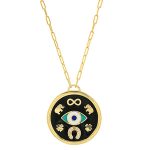 GOLD BLACK PROTECTION MEDALLION NECKLACE