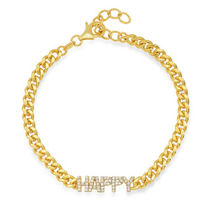 GOLD HAPPY CUBAN LINK BRACELET
