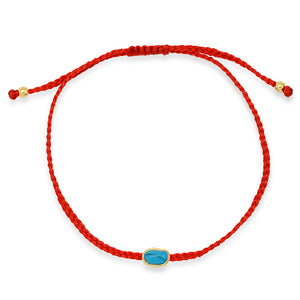 GOLD TURQUOISE RED STRING PROTECTION BRACELET