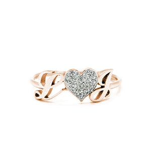 14K GOLD INITIALS PAVE DIAMOND RING