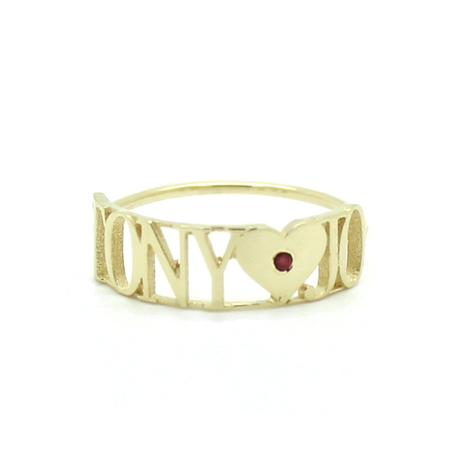 14K GOLD 2 NAME HEART RUBY RING