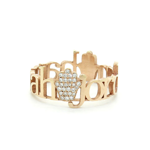 Classic 2 Hamsa Pave Diamond Ring