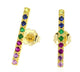 14K GOLD MULTI COLOR LONG BAR EARRINGS