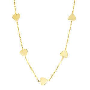14K GOLD 5 HEART NECKLACE