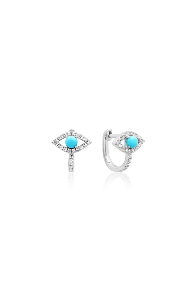 Turquoise and Diamond Evil Eye Protection Huggie Earrings